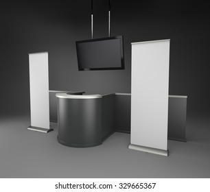 black and white isolated booth in exhibition with tv display and roll-ups. 3D rendering