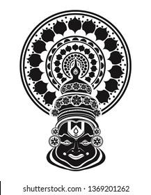 Black & White kathakali face mask  image/ kathakali dancer image