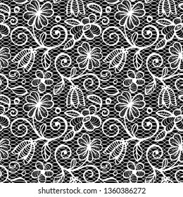 Black and white Lace Seamless Pattern