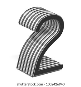 Black and white layered Number 2 TWO 3D render illustration isolated on white background