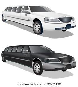 Black and white limousine illustrations