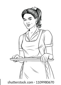 Black and white line art illustration of a beautiful waitress with a tray food. Young girl in apron serving a order