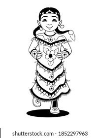 A black and white line drawing of an indigenous girl dancing in her jingle dress.