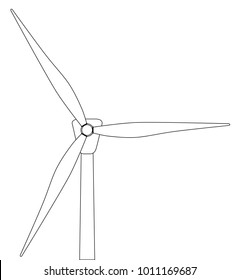 Black and white line drawing of a typical wind turbine.