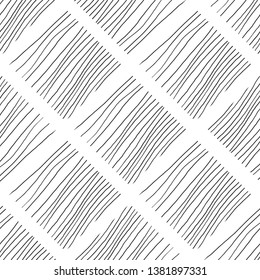 Black and white lines seamless pattern hand drawn texture. Abstract background with lines.