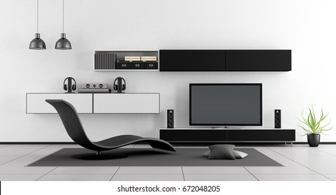 Black and white living room with chaise lounge and home cinema system - 3d rendering