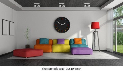 Black and white living room with colorful sofa - 3d rendering
