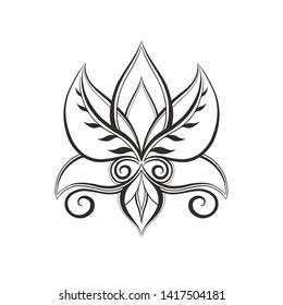 black and white lotos design