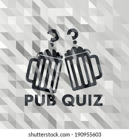 black white low poly pub quiz symbol with origami triangle background