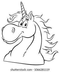 Black And White Magic Unicorn Head Classic Cartoon Character. Raster Illustration Isolated On White  Background