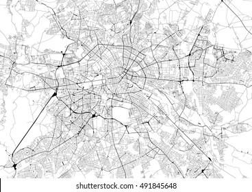 Black and white map of the Berlin road network