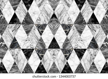 Black and white marble in the form of diamonds with silver edging. Geometrical abstraction. Marble tile, Fashion poster for textiles, fabric, web, Wallpaper, poster