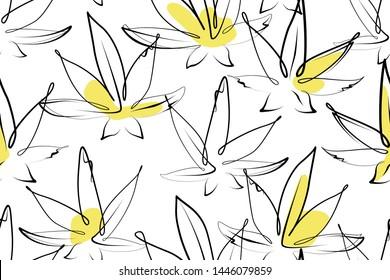 Black and white marijuana background with yellow spots. Seamless pattern.