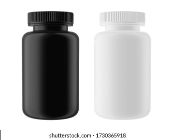 Black and White Matte Plastic Bottle with Cap, Isolated on white background. Supplement Jar, Sport Nutrition, Medical or Cosmetic concept for your mockup design. 3d render.