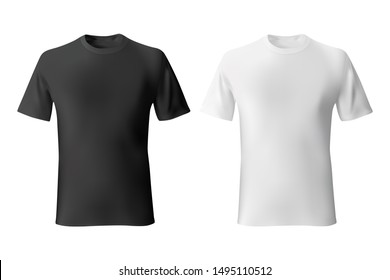 Black and White mens t-shirt template realistic mockup.