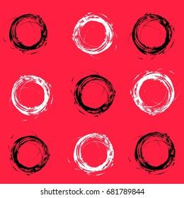 Black and white messy circles on red background.