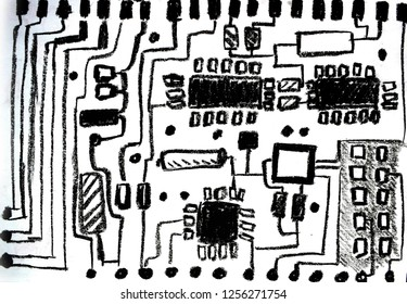 A black and white microcircuit board. Oil pastel hand drawing microcircuit background.