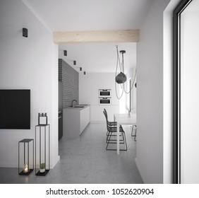 Black and white modern kitchen and dining room interior - 3 d render