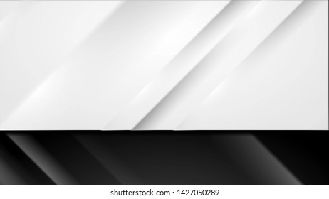 Black and white modern smooth stripes abstract background
