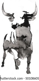 black and white monochrome painting with water and ink draw bull illustration