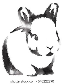 black and white monochrome painting with water and ink draw rabbit illustration