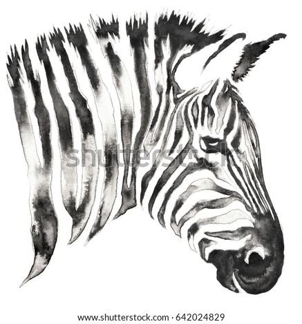 Black White Monochrome Painting Water Ink Stockillustration