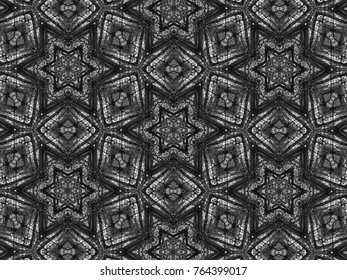 Black and white mosaic pattern kaleidoscope