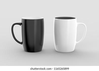 Black and white mug mock ups isolated on light gray background. 3D illustration.