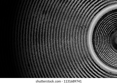 Black and white music speaker and sound waves background