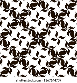 Black and white oriental floral background. Monochrome pattern with art deco-styled flowers. Modern print for interior or fashion surface design. Raster seamless repeat.