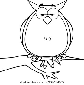 Black And White Owl On Tree Cartoon Character. Raster Illustration Isolated on white