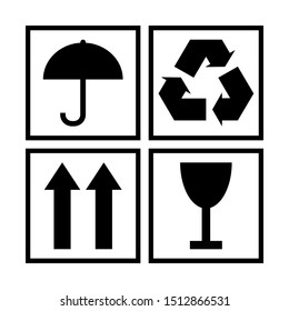 Black and white packaging cargo symbols for cardboard or wooden boxes. Protection from moisture, environmental friendliness, fragility of cargo. illustration.