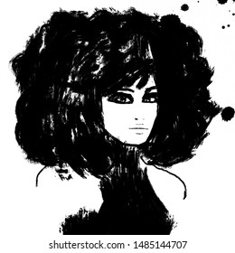 Black and white painting of black afro american woman with big afro hair. Fashion illustration