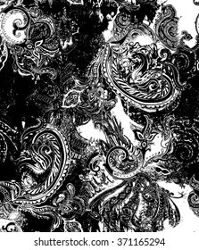 Black and White paisley on abstract background