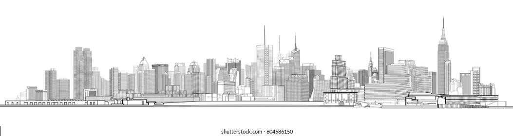 Black and white panorama of New York city. Skyline  illustration.