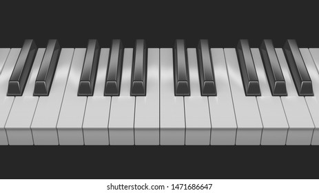 Black an White Piano Keys - 3D render - Illustration