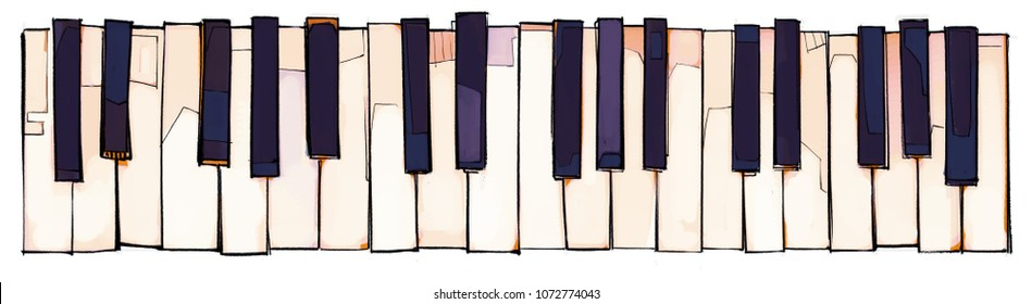 Black & white piano keys in hand drawn style, overhead view of keyboard