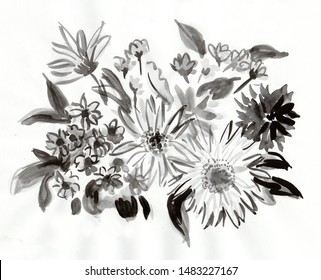 black and white picture,  bouquet of gerberas
