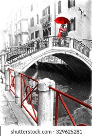 Black and white pictures with colour, red detail. Digital illustration in draw, sketch style.