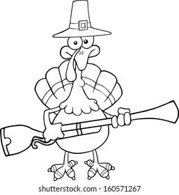 Black White Pilgrim Turkey Bird Cartoon Stock Vector Royalty Free
