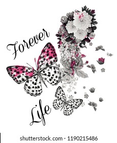 Black, white and pink patterned butterflies with around flowers and texts. JPEG format.