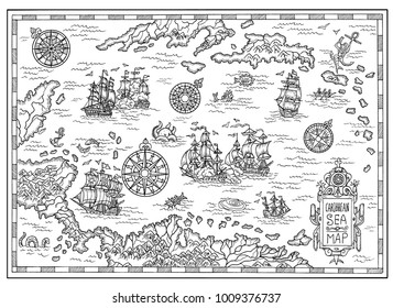 Black and white pirate map of the Caribbean Sea with old ships, islands and fantasy creatures. Pirate adventures, treasure hunt and old transportation concept. Hand drawn illustration, vintage backgro