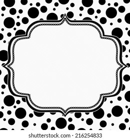 Black and White Polka Dot Background with Embroidery with center for copy-space, Classic Polka Dot Background