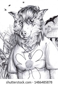 Black and white portrait illustratinon of an anthropomorphic pretty dog in the countryside, with swallows flying in the background