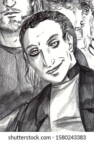 Black and white portrait illustration of a priest, with a very tall and strong man partially visible on the background