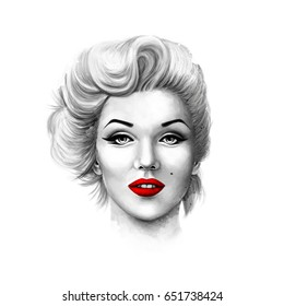 Black and white portrait of Marilyn Monroe isolated on a white background.