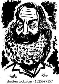 Black and white portrait of Walt Whitman.