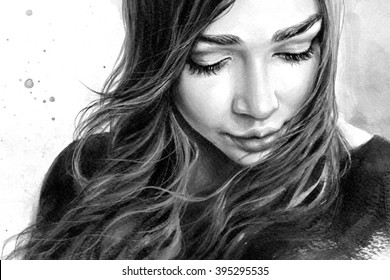 Black and white portrait of a young beautiful girl with long hair looking down with a sad smile