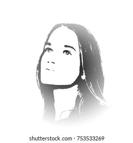 Black and white portrait of young girl with light eyes and with long hair. Young girl beautiful graffiti stencil face. Graffiti stencil face. Stencil art.