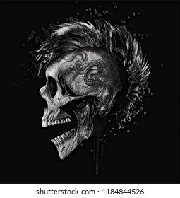 Black and white punk skull illustration.Rock music themed men t shirt graphic.